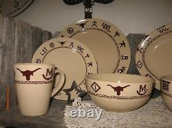 Western Branded Dinnerware 4 Place Setting Western Kitchen Dining Room 16 Ps