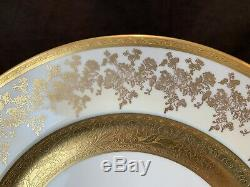 Wheeling Decorating Gold Encrusted Cabinet Dinner Plates Set of 8 Flowers 359