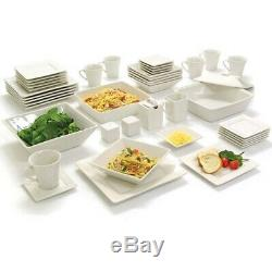 White Dinnerware Set Dinner Dining Banquet Square Dished Plates 45 Pc Service 6