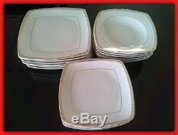 White Gold Rim Dinner Service Plates Set Porcelain Square Dinnerware Coffee 43pc