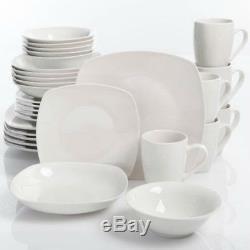 White Square Dinnerware Set 30-Piece Porcelain Plates Dinner Dish Service For 6