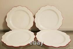 Williams Sonoma AERIN Scalloped Dinner Charger Plate Set of 4 Red Rimmed NEW