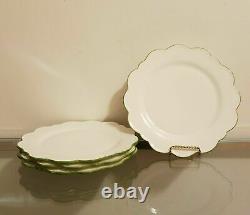 Williams Sonoma AERIN Scalloped Dinner Plates Green Rim Set of 4 NEW