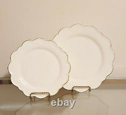 Williams Sonoma AERIN Scalloped Dinner & Salad Plates Green Rim Set of 8 NEW