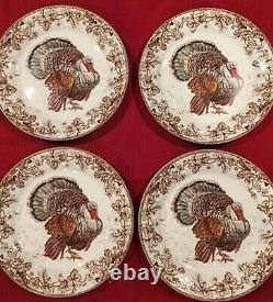 Williams Sonoma PLYMOUTH TURKEY Thanksgiving Autumn Fall DINNER PLATES Set/4 NEW