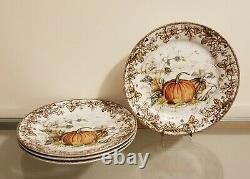 Williams Sonoma Plymouth Pumpkin Dinner Plates Set of 4 NEW