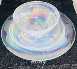 X12 Artistic Accents Turkish Pearl White Opal Iridescent Glass Dinner Plate Set