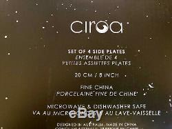 X8Ciroa Wicked HALLOWEEN SKELETON 4- DINNER PLATES & 4-SIDE SALAD PLATS. SET of 8